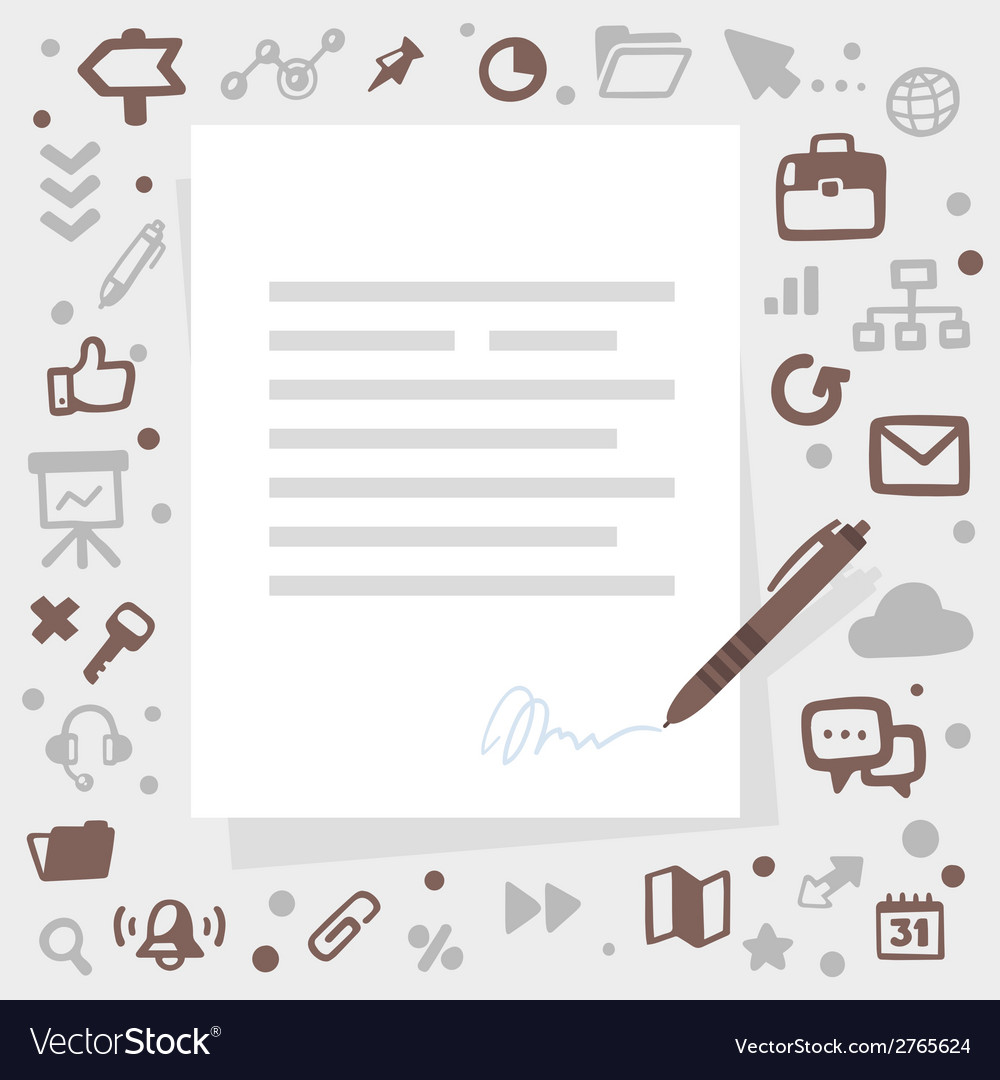 Bright pen writes contact on a gray backgrou vector | Price: 1 Credit (USD $1)