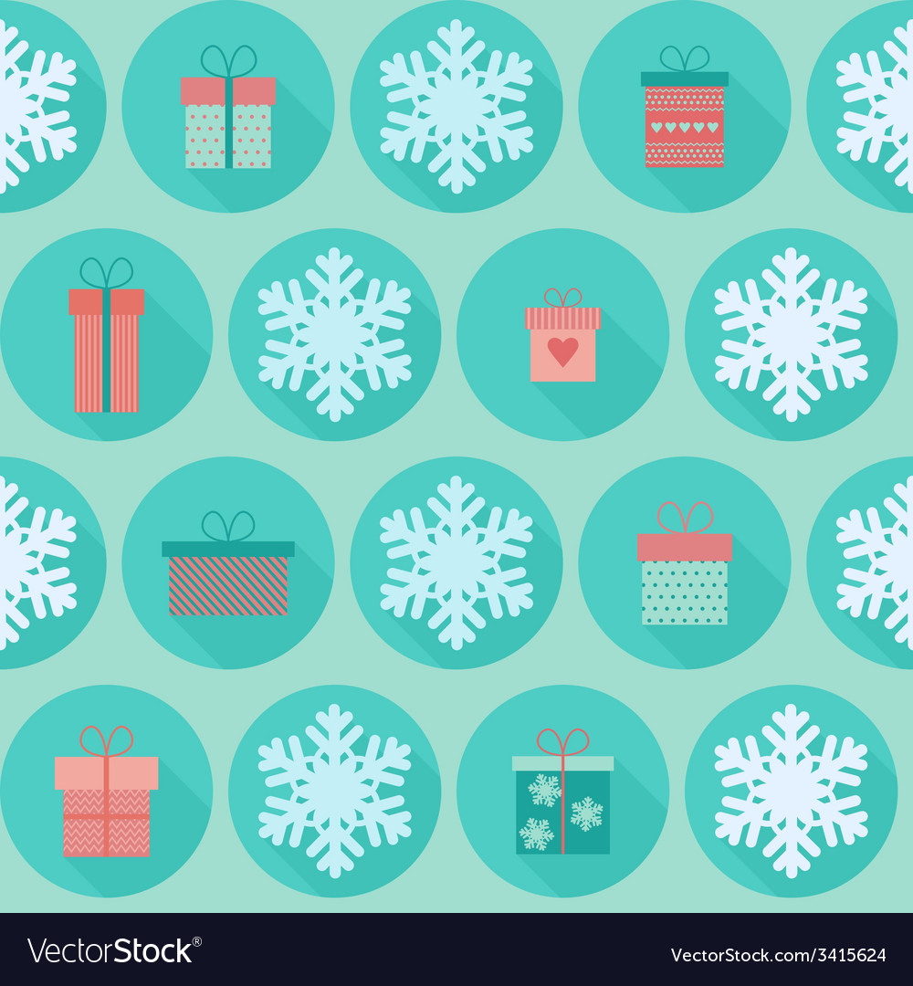 Christmas flat seamless pattern with gifts vector | Price: 1 Credit (USD $1)