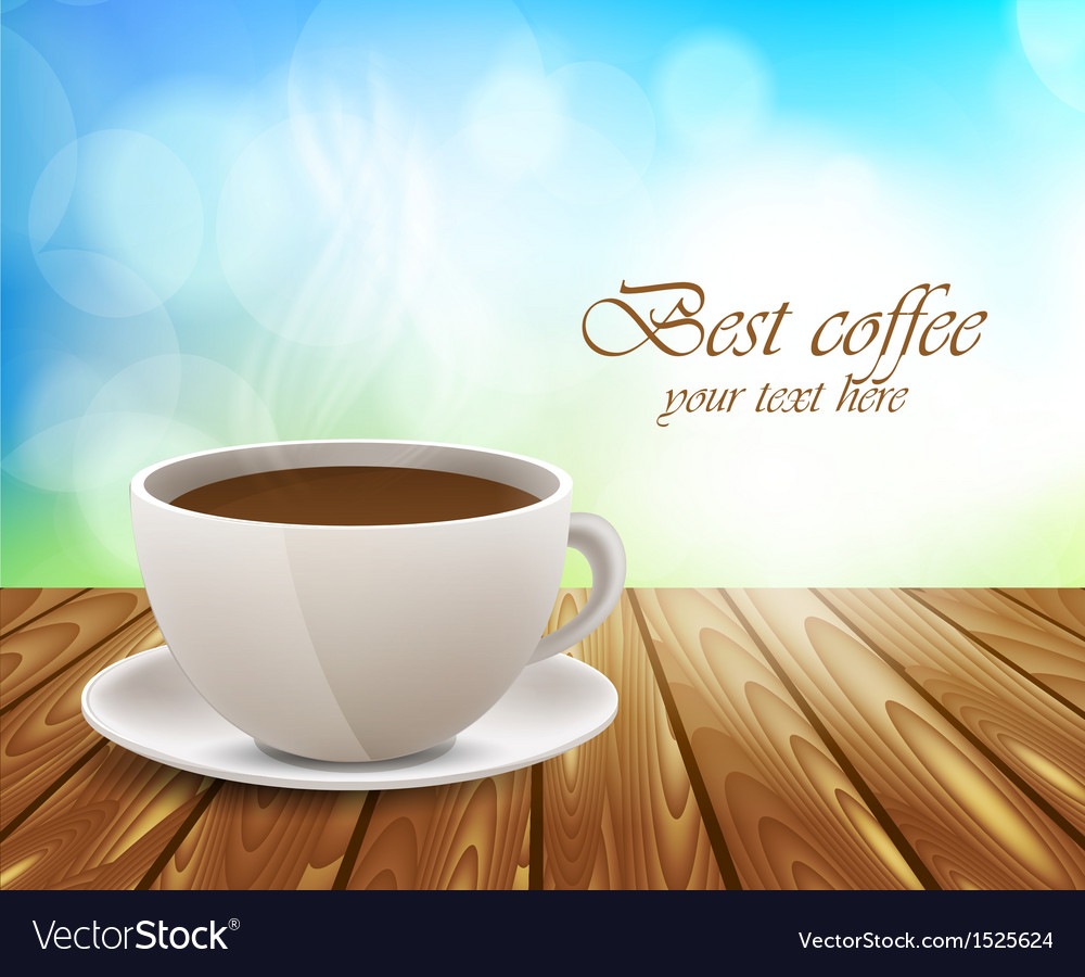 Coffee cup on wooden table vector | Price: 1 Credit (USD $1)