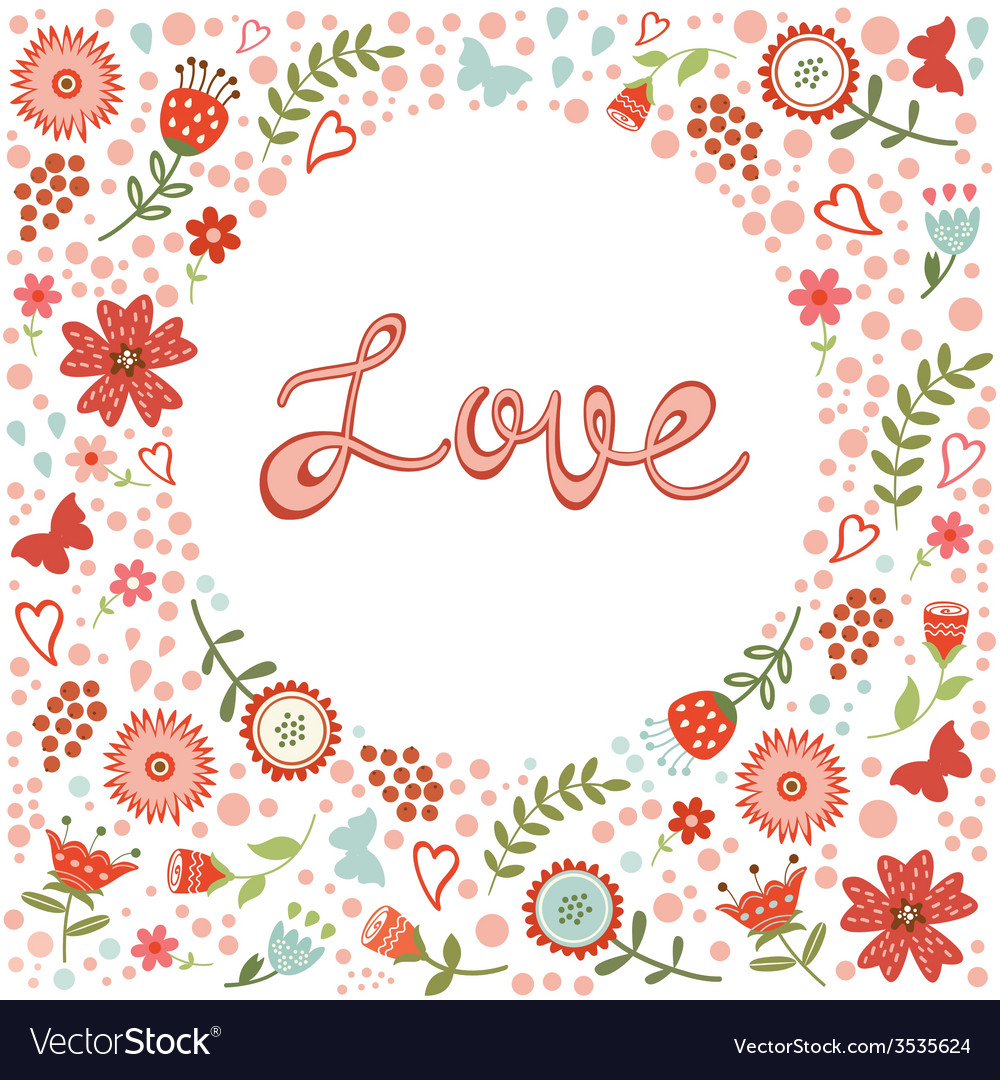 Concept love card with floral heart and vector | Price: 1 Credit (USD $1)