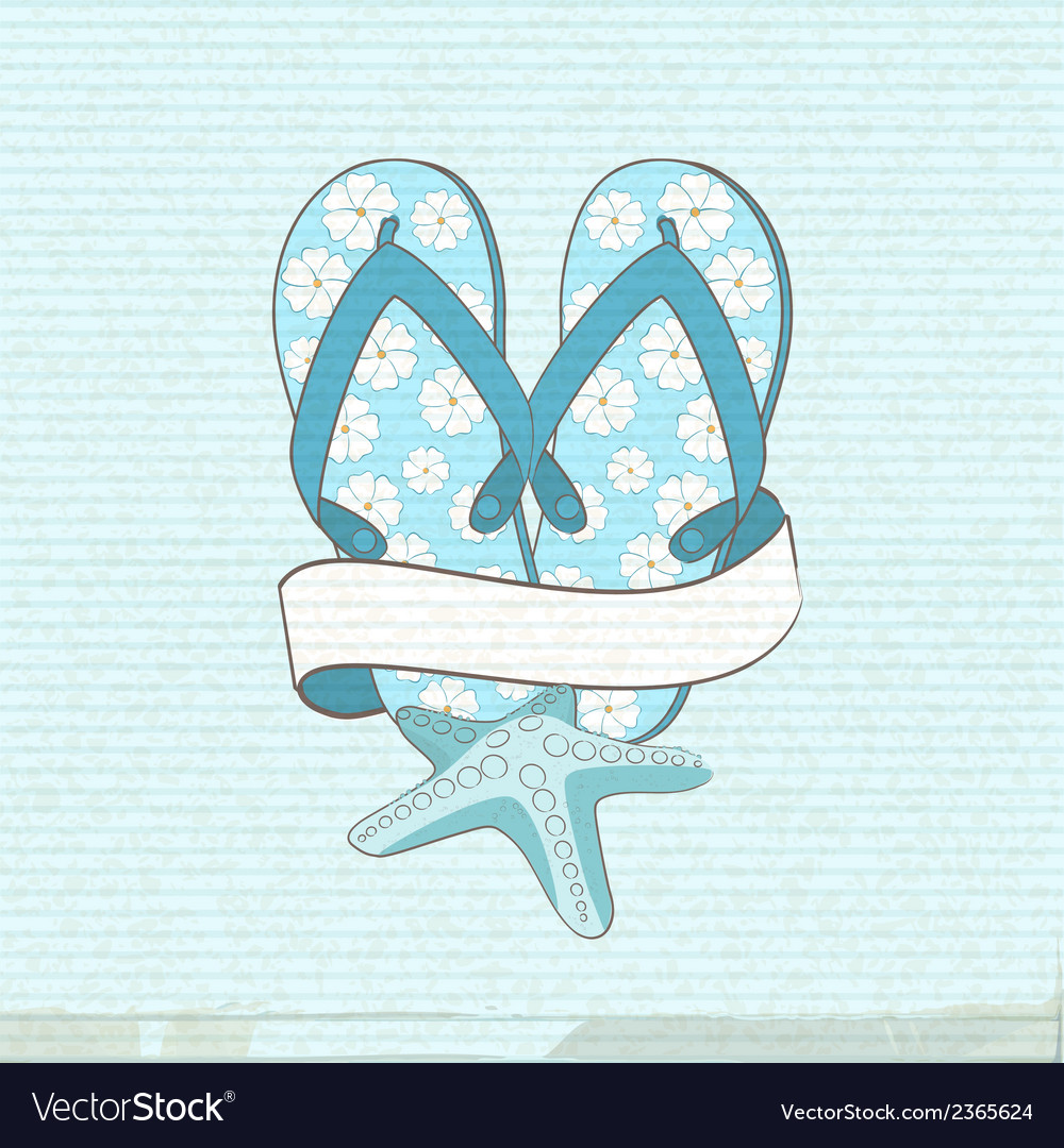 Flip flops starfish and banner vector | Price: 1 Credit (USD $1)