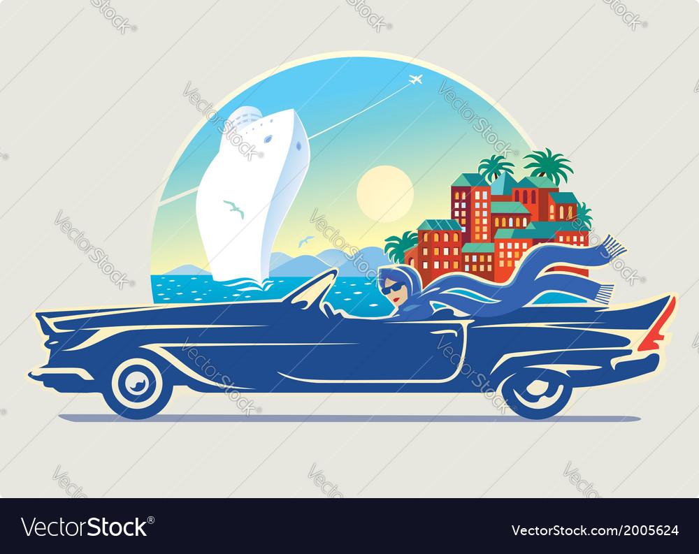Girl in car vector | Price: 3 Credit (USD $3)