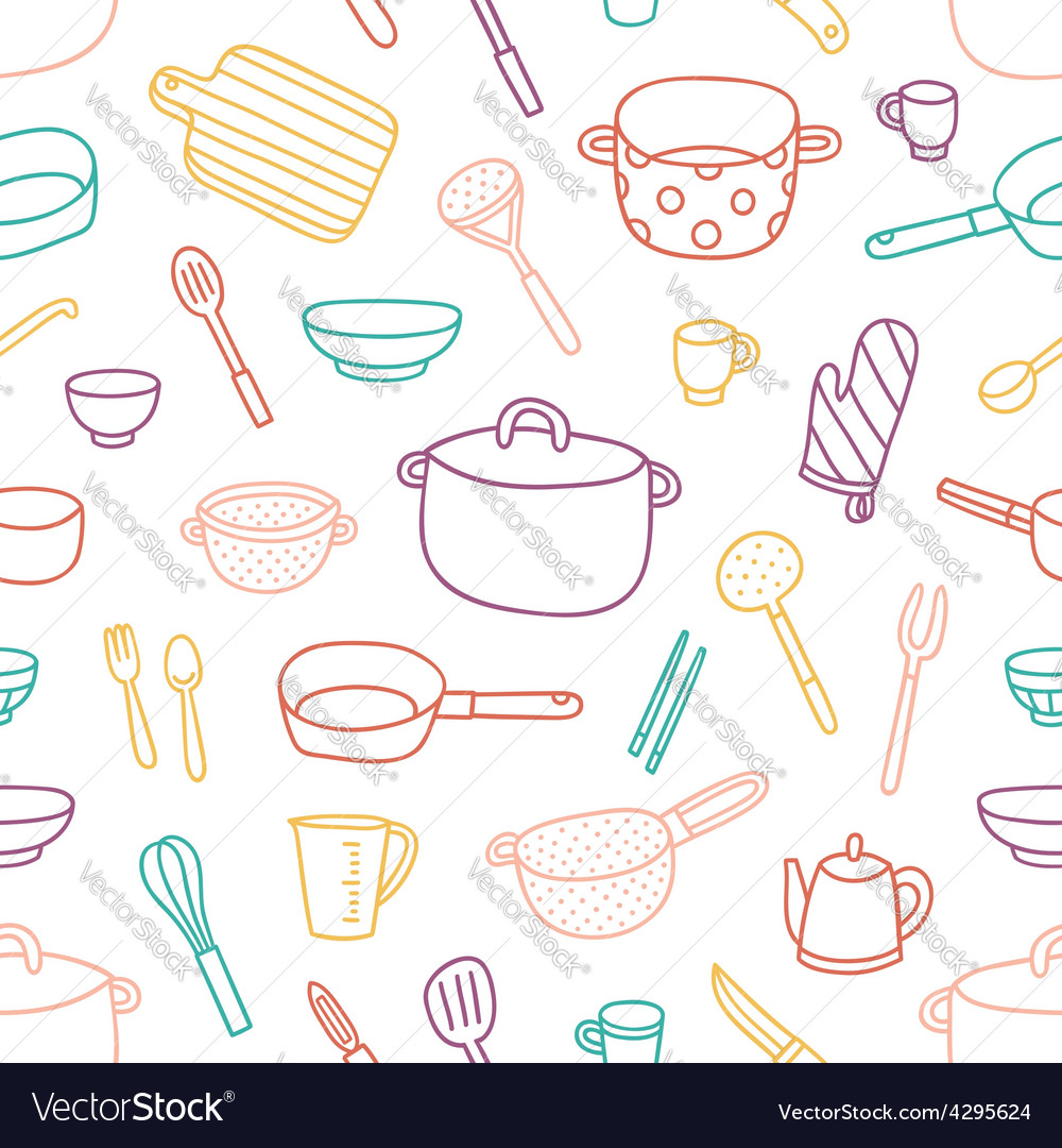 Kitchenware and cooking utensils outlined seamless vector | Price: 1 Credit (USD $1)