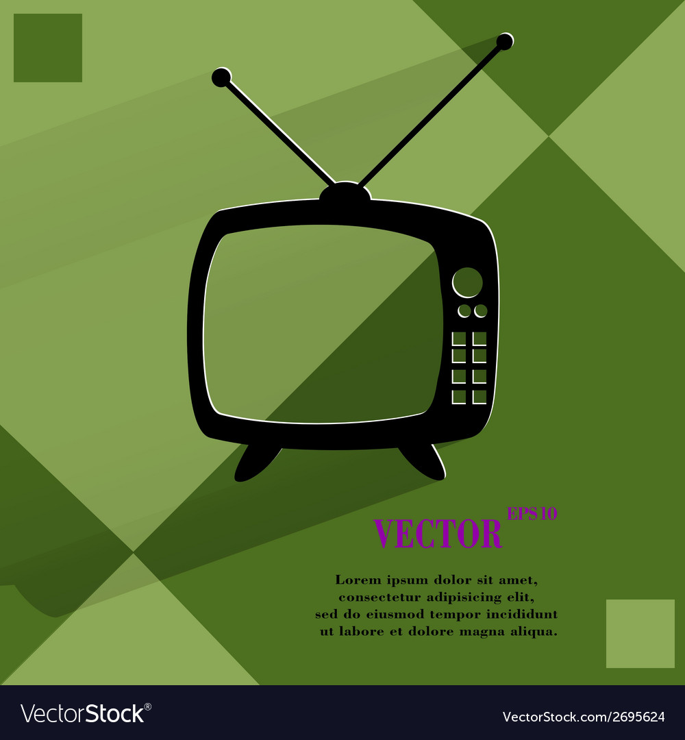 Retro tv flat modern web button on a flat vector | Price: 1 Credit (USD $1)