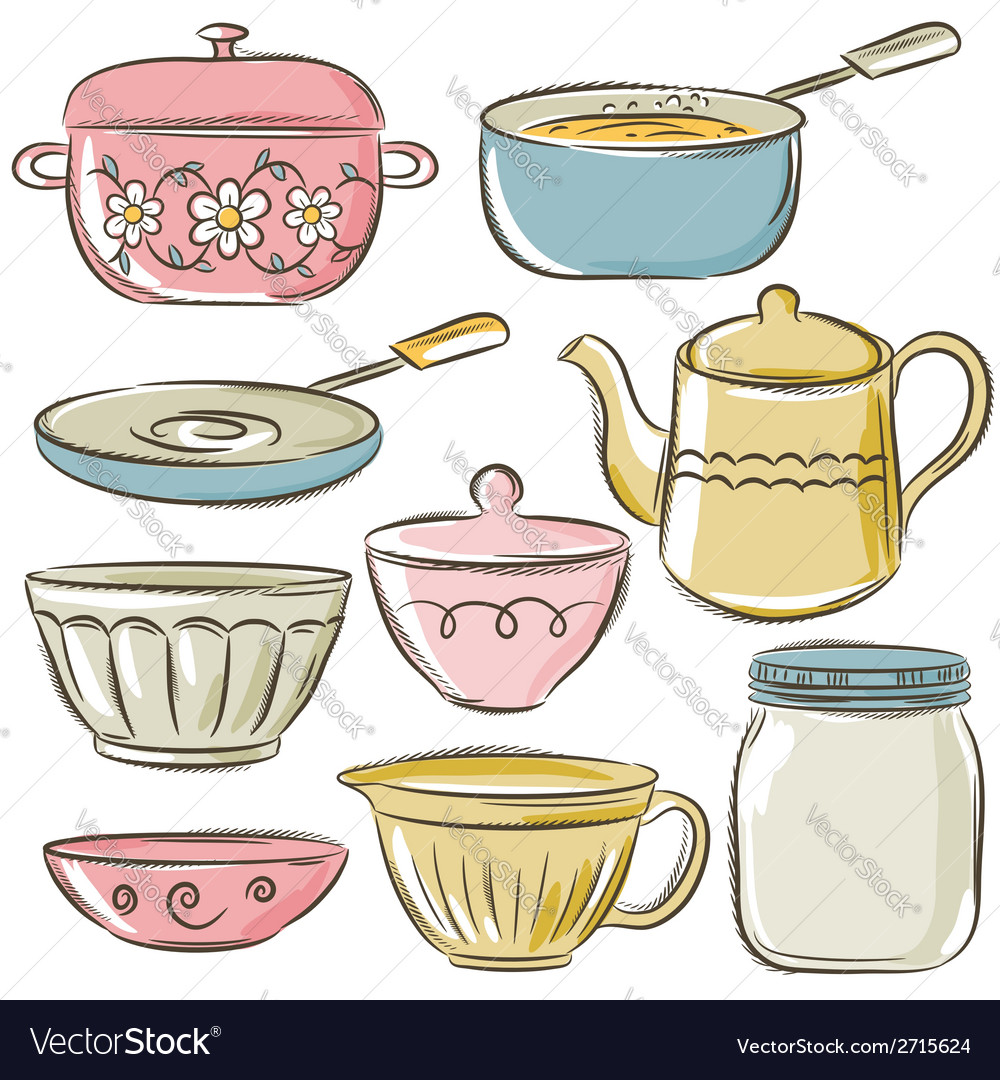Set of different tableware vector | Price: 1 Credit (USD $1)