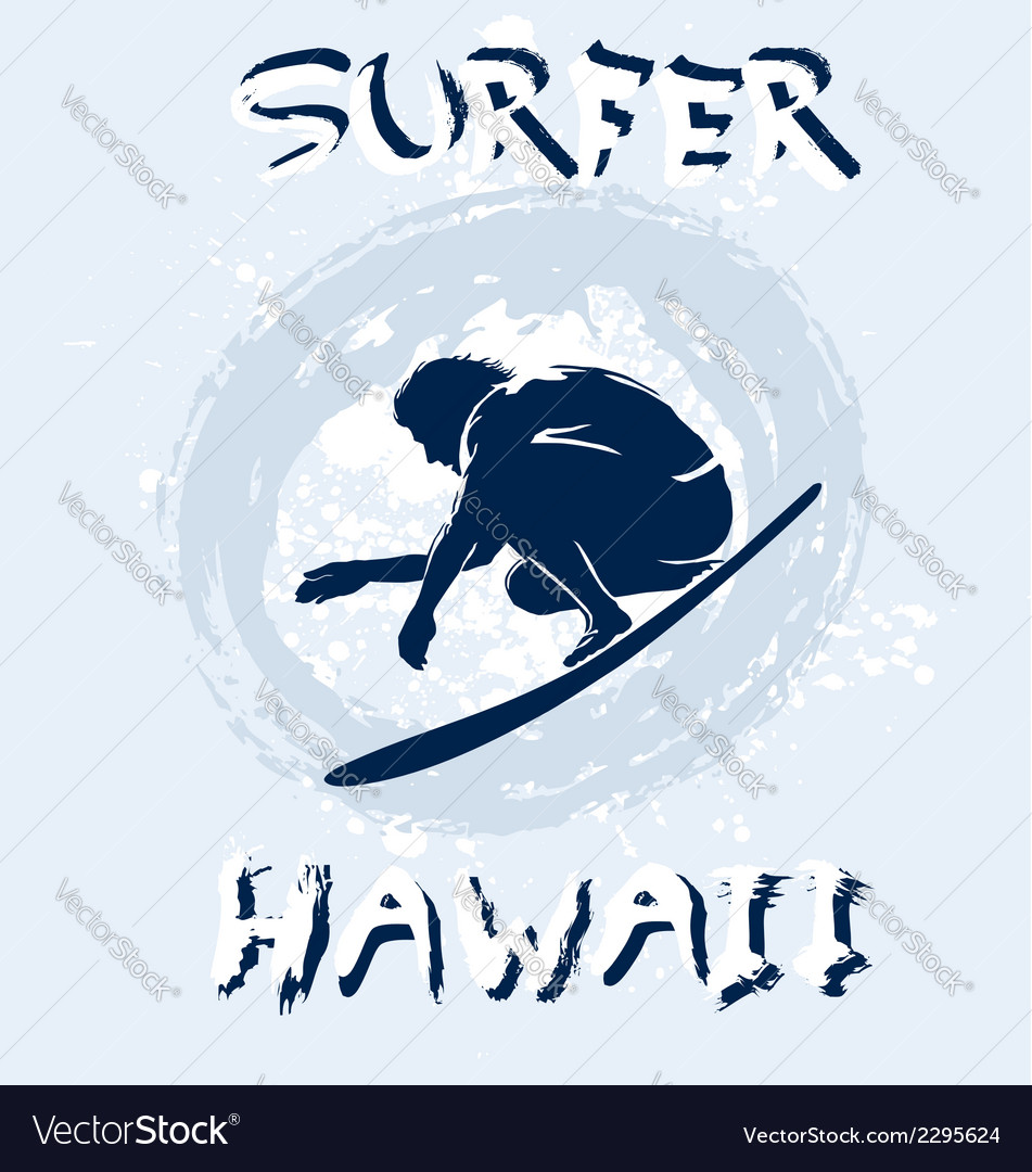Surfer hawaii vector | Price: 1 Credit (USD $1)