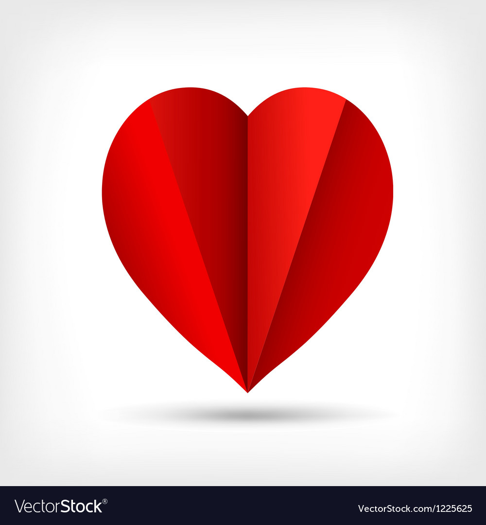 Abstract red origami paper heart vector | Price: 1 Credit (USD $1)