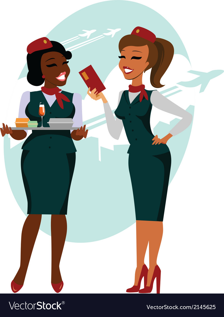 Air hostesses ready to fly vector | Price: 1 Credit (USD $1)