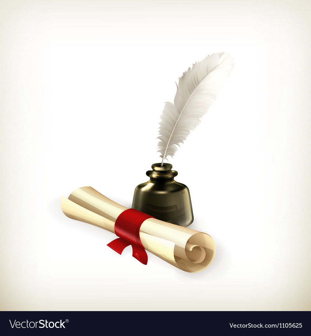 Ancient scroll and feather vector | Price: 3 Credit (USD $3)