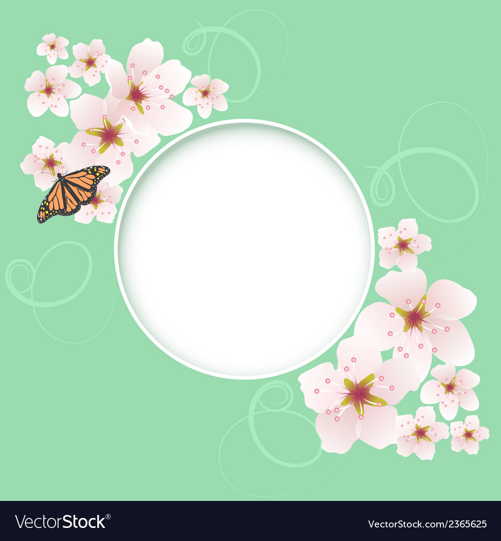Card with cherry flowers vector | Price: 1 Credit (USD $1)