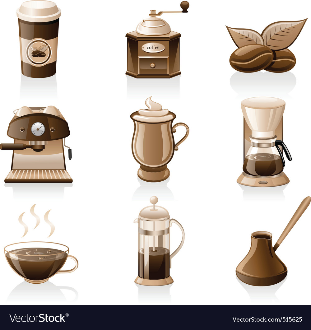 Coffee icon set vector | Price: 3 Credit (USD $3)