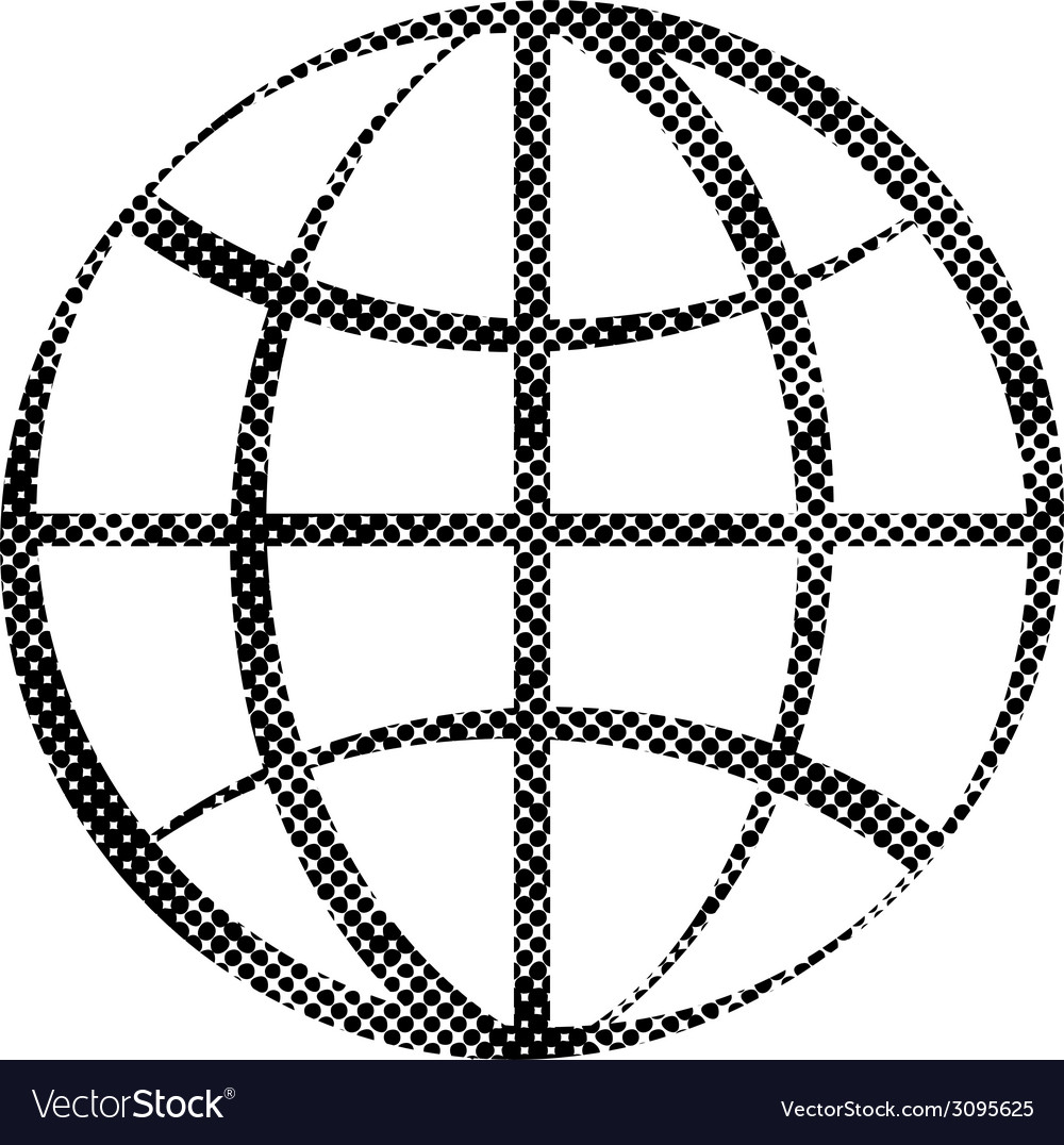 Earth simplistic icon with pixel print halftone vector   Price: 1 Credit (USD $1)