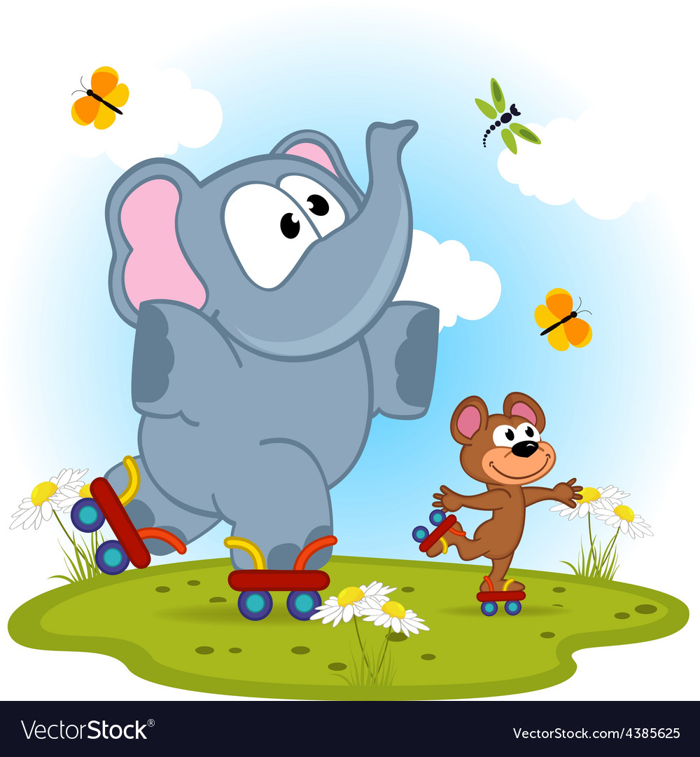 Elephant and mouse roller skating vector | Price: 1 Credit (USD $1)