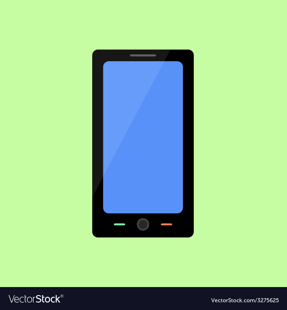 Flat style smart phone on green background vector | Price: 1 Credit (USD $1)