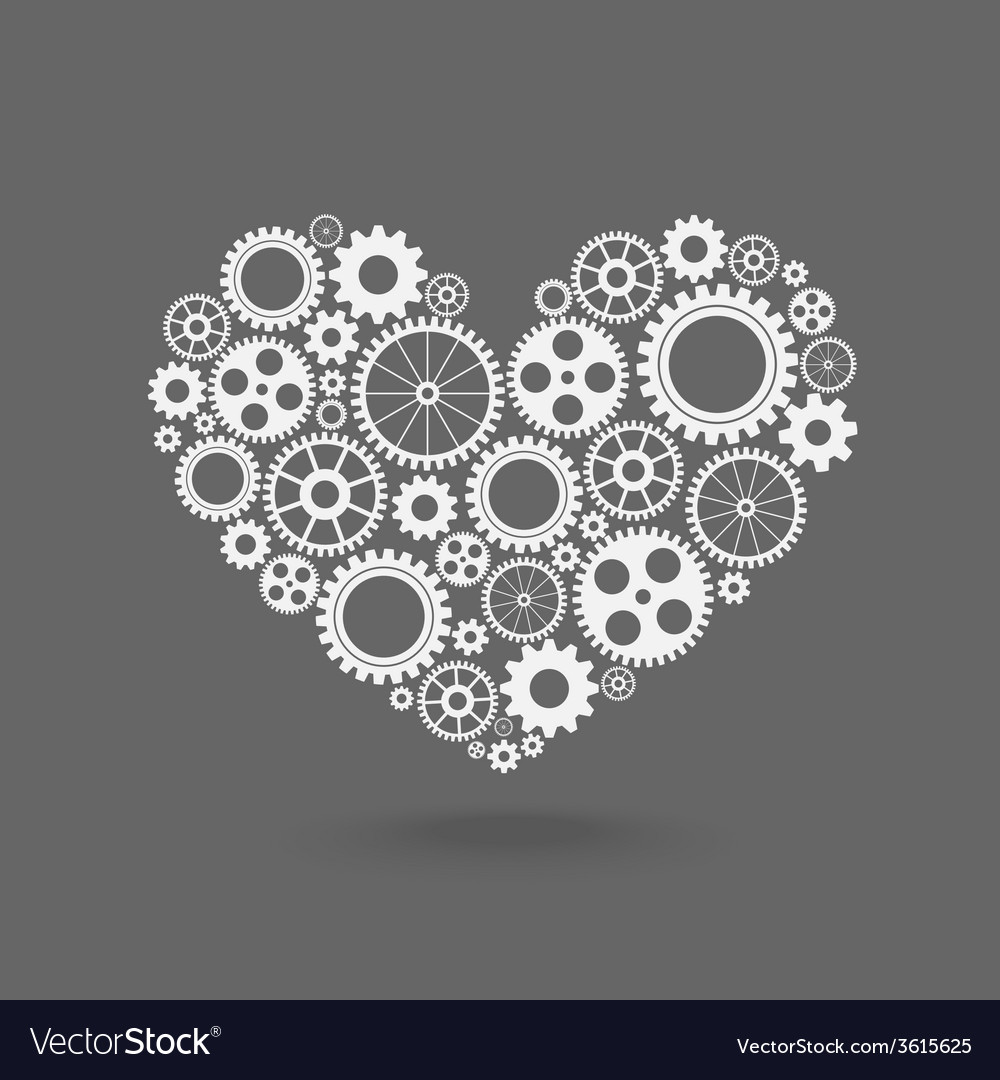Heart with gears vector | Price: 1 Credit (USD $1)