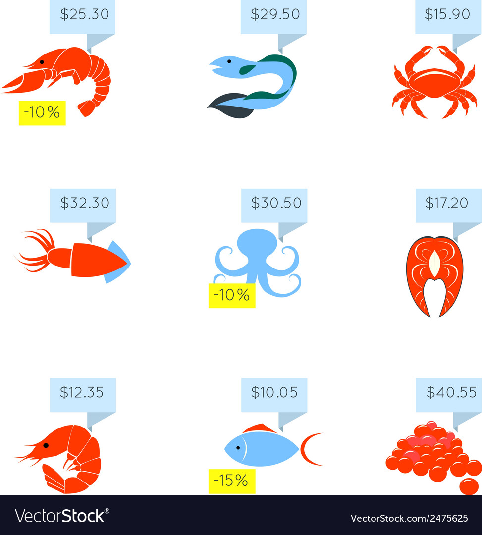 Seafood price icons set vector | Price: 1 Credit (USD $1)