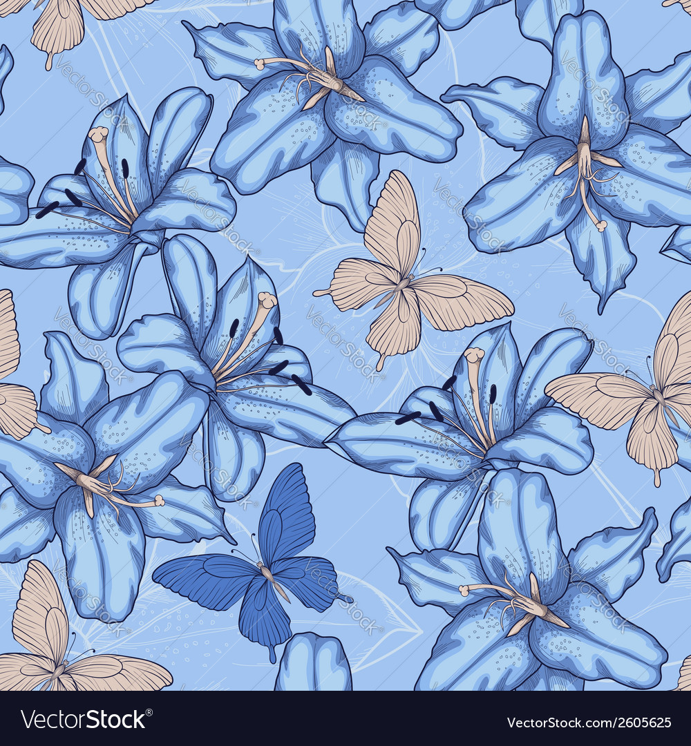 Seamless background with blue lilies vector | Price: 1 Credit (USD $1)
