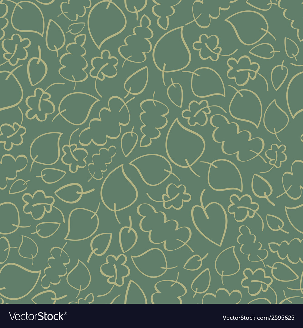 Seamless retro pattern with green autumn leaves vector | Price: 1 Credit (USD $1)
