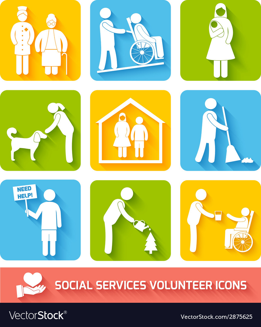 Social services icons set flat vector | Price: 1 Credit (USD $1)
