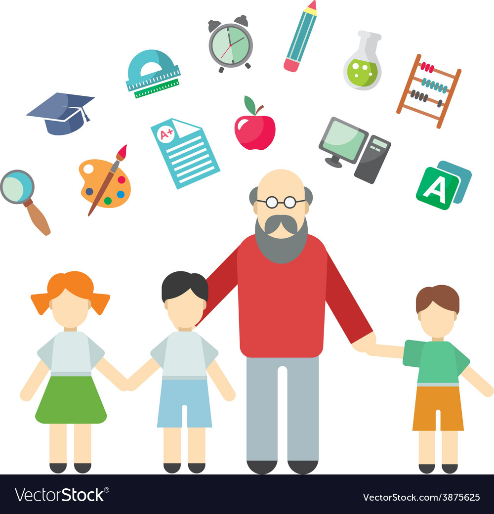 Teacher and children miscellaneous student in vector | Price: 1 Credit (USD $1)