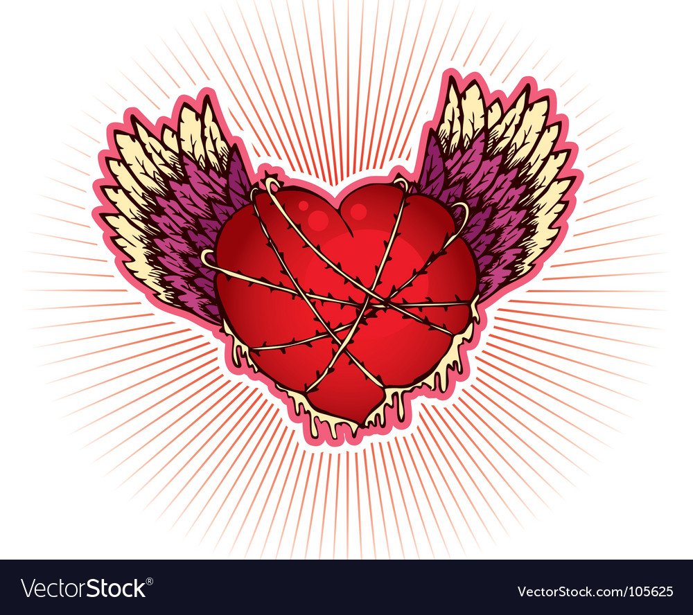Wings heart vector | Price: 1 Credit (USD $1)
