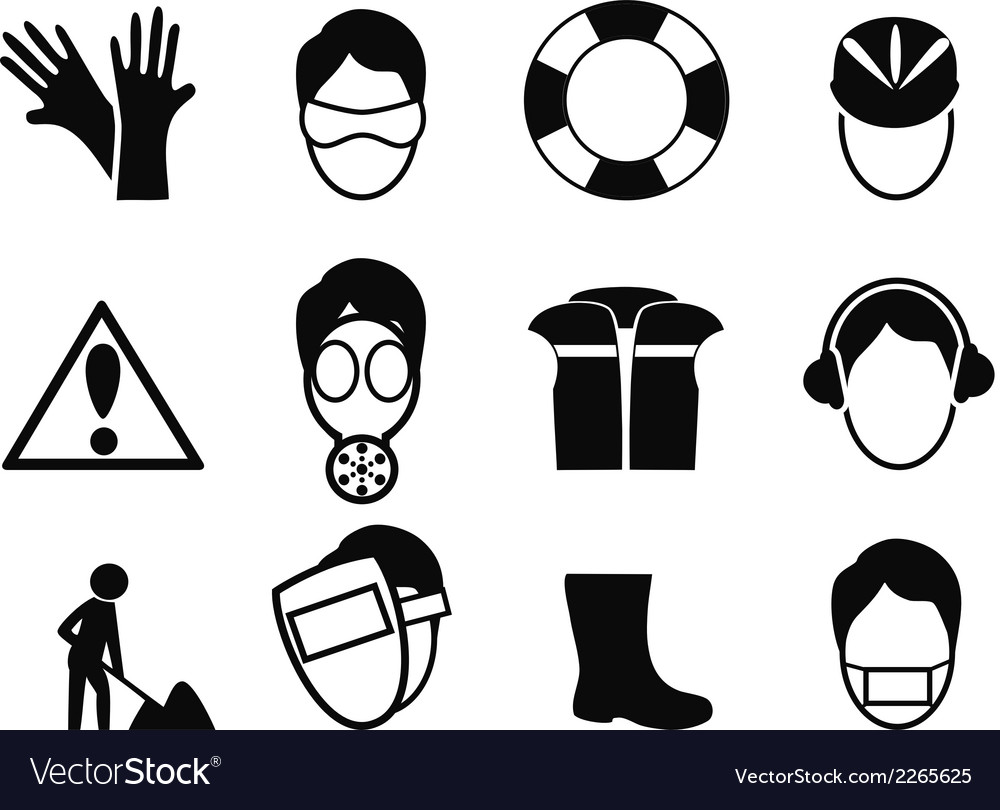 Work safety icons set vector | Price: 1 Credit (USD $1)