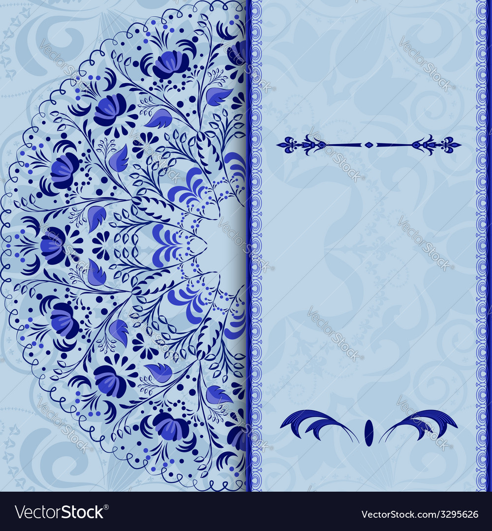 Beautiful invitation card with a blue floral vector | Price: 1 Credit (USD $1)