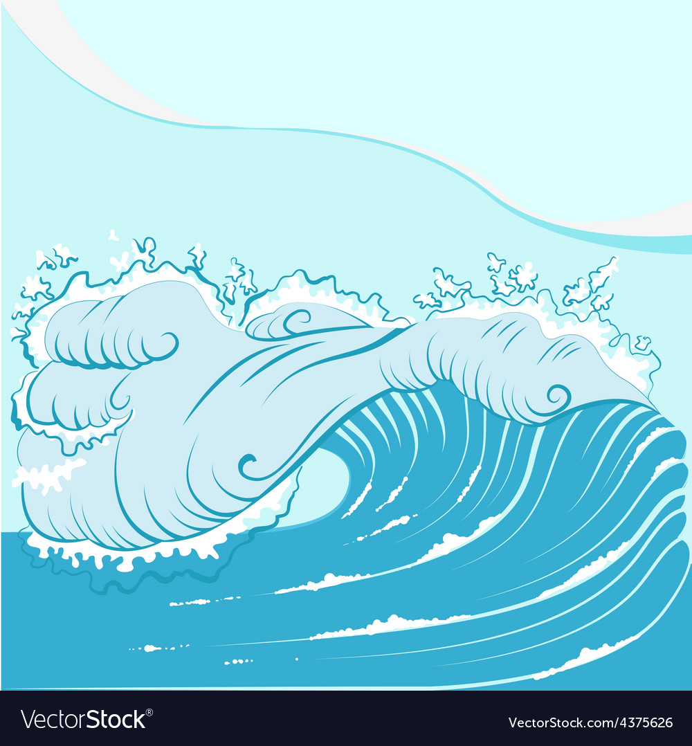 Blue foamy sea wave vector | Price: 1 Credit (USD $1)