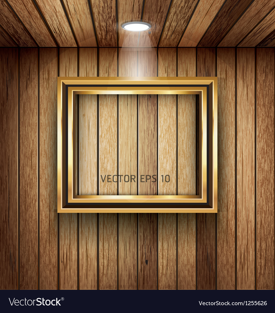 Gold frame on wood wall with spotlight vector | Price: 3 Credit (USD $3)