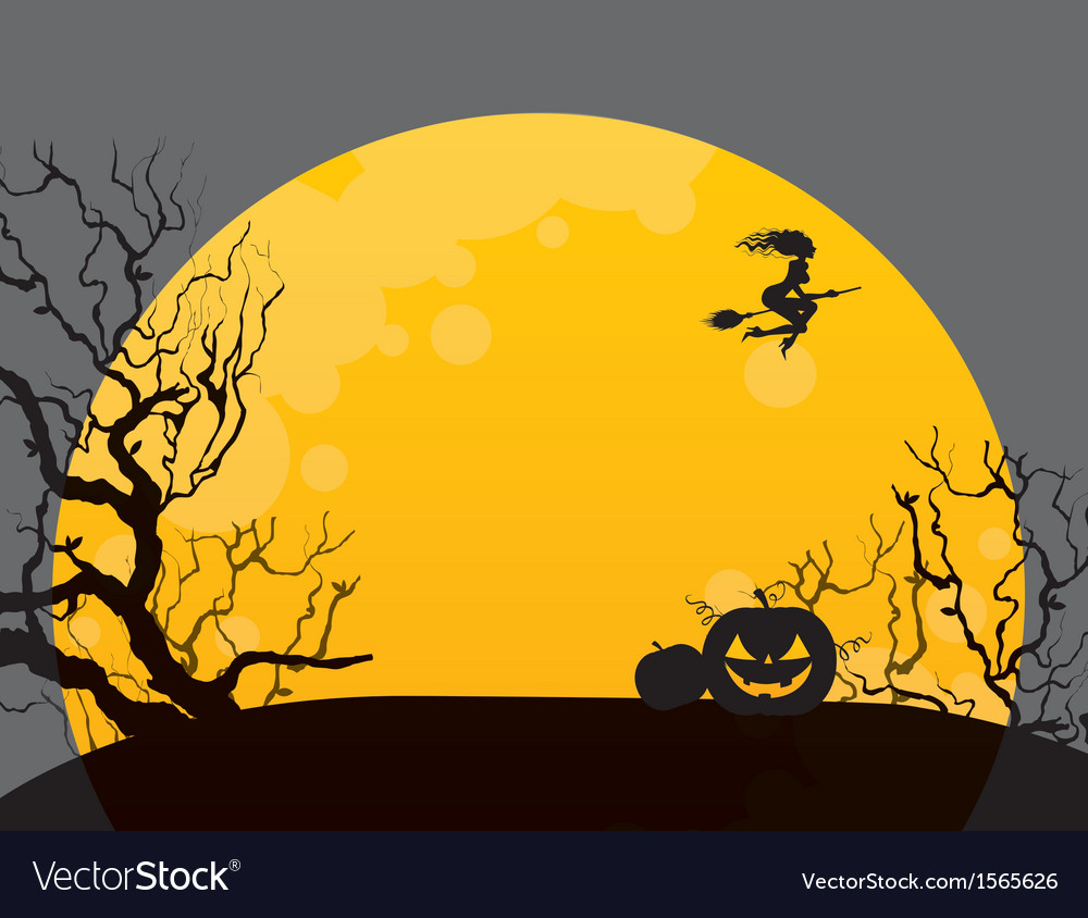Halloween background with witch vector | Price: 1 Credit (USD $1)