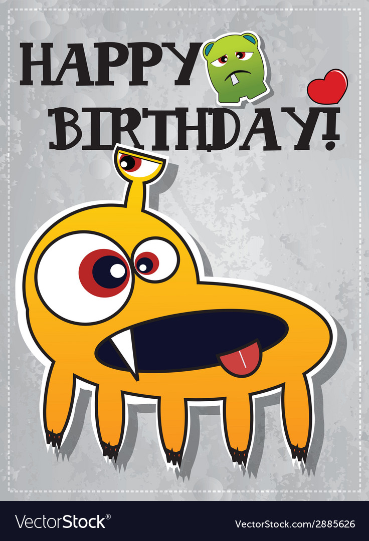 Happy birthday card with cute monster vector | Price: 1 Credit (USD $1)