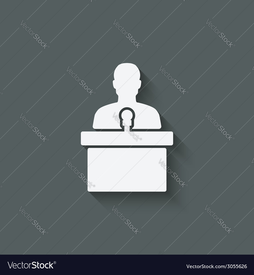 Man on podium with microphone vector | Price: 1 Credit (USD $1)