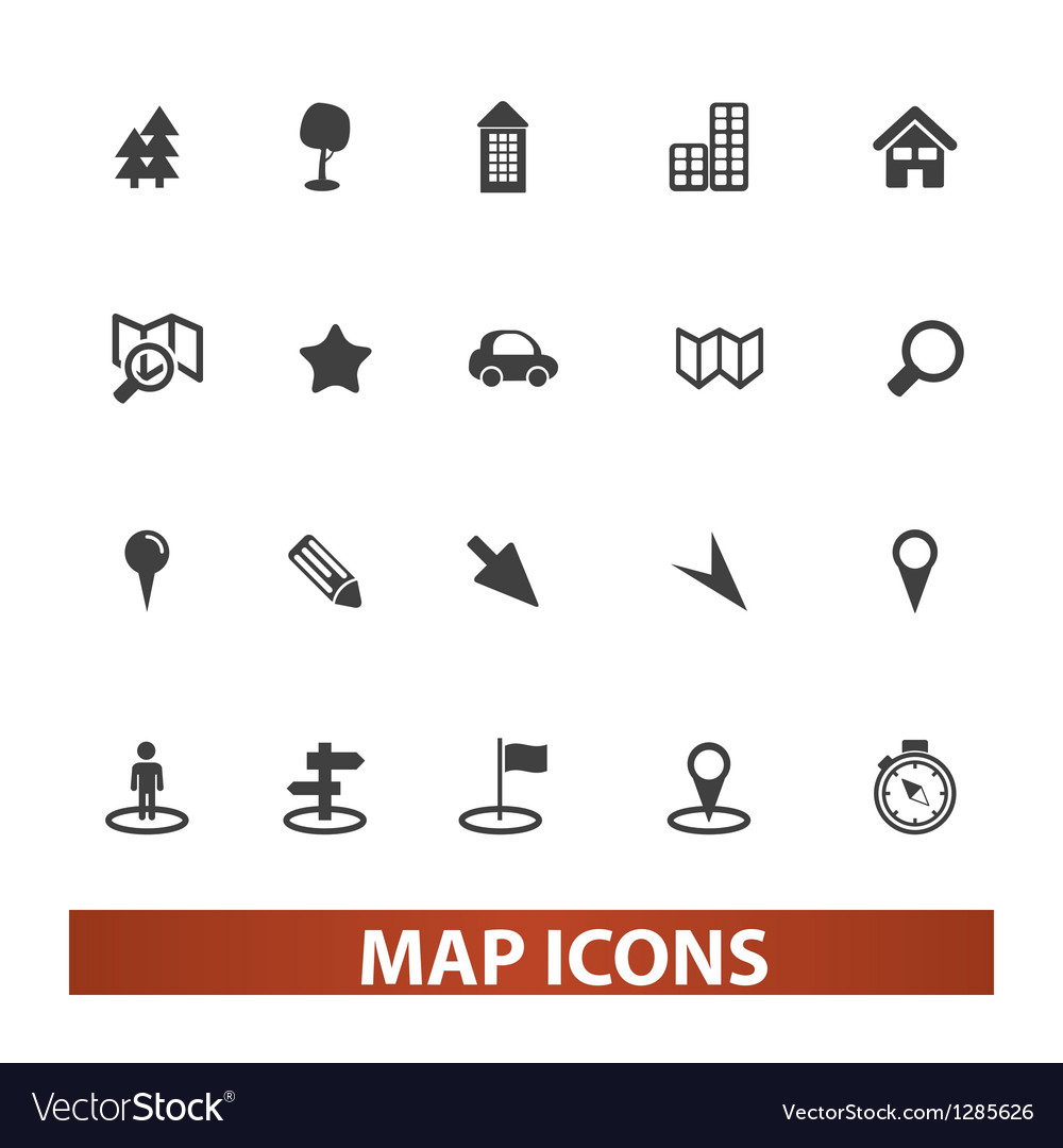 Map  navigation icons set vector | Price: 1 Credit (USD $1)