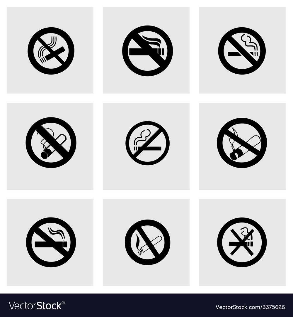 No smoking icon set vector | Price: 1 Credit (USD $1)