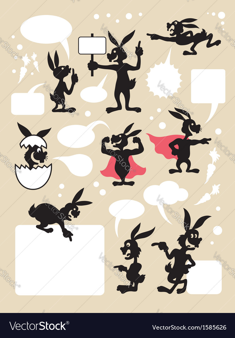 Rabbit cartoon silhouette symbols vector | Price: 1 Credit (USD $1)