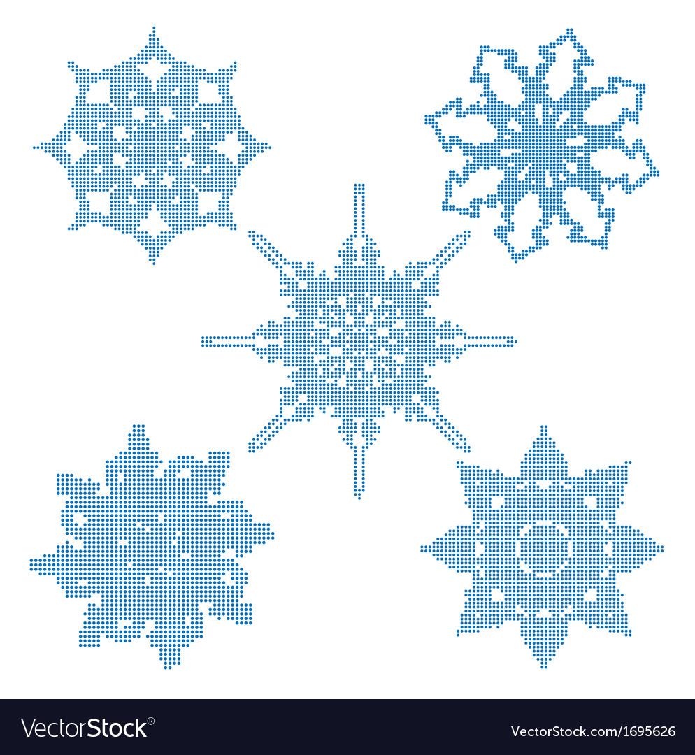 Set halftone snowflakes vector | Price: 1 Credit (USD $1)