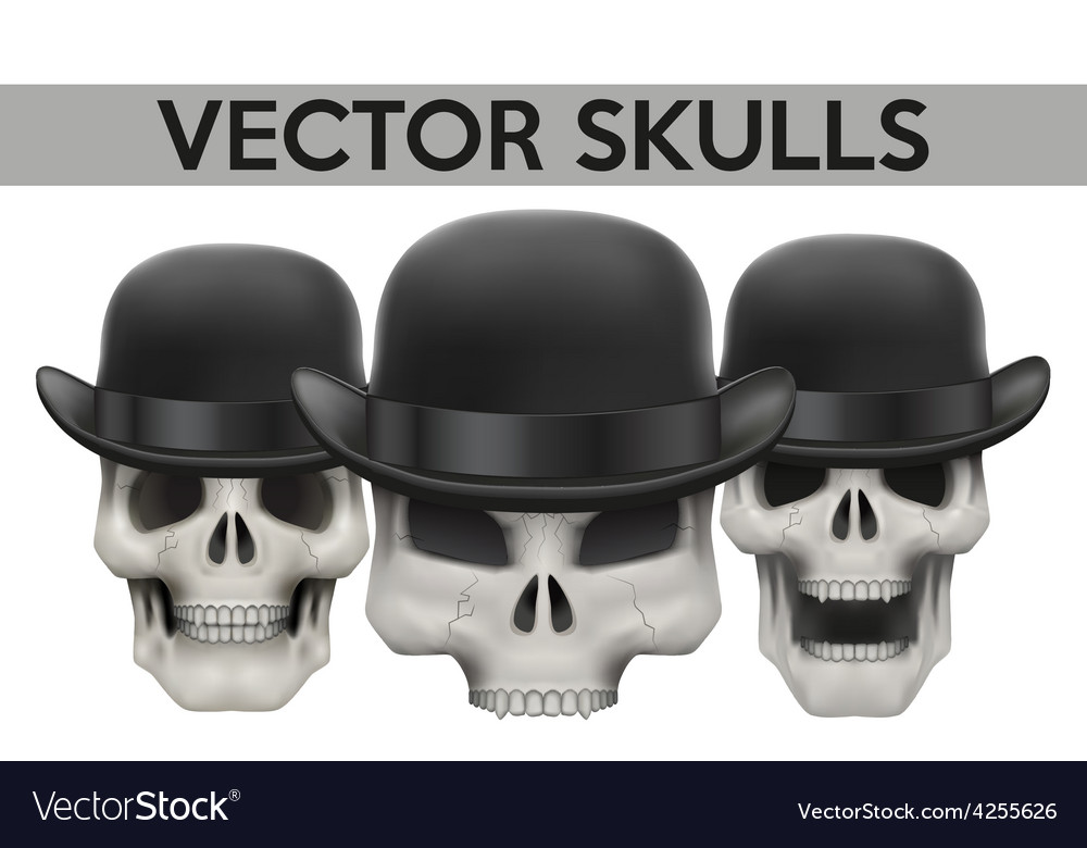 Set of human skulls with bowler hat vector | Price: 1 Credit (USD $1)