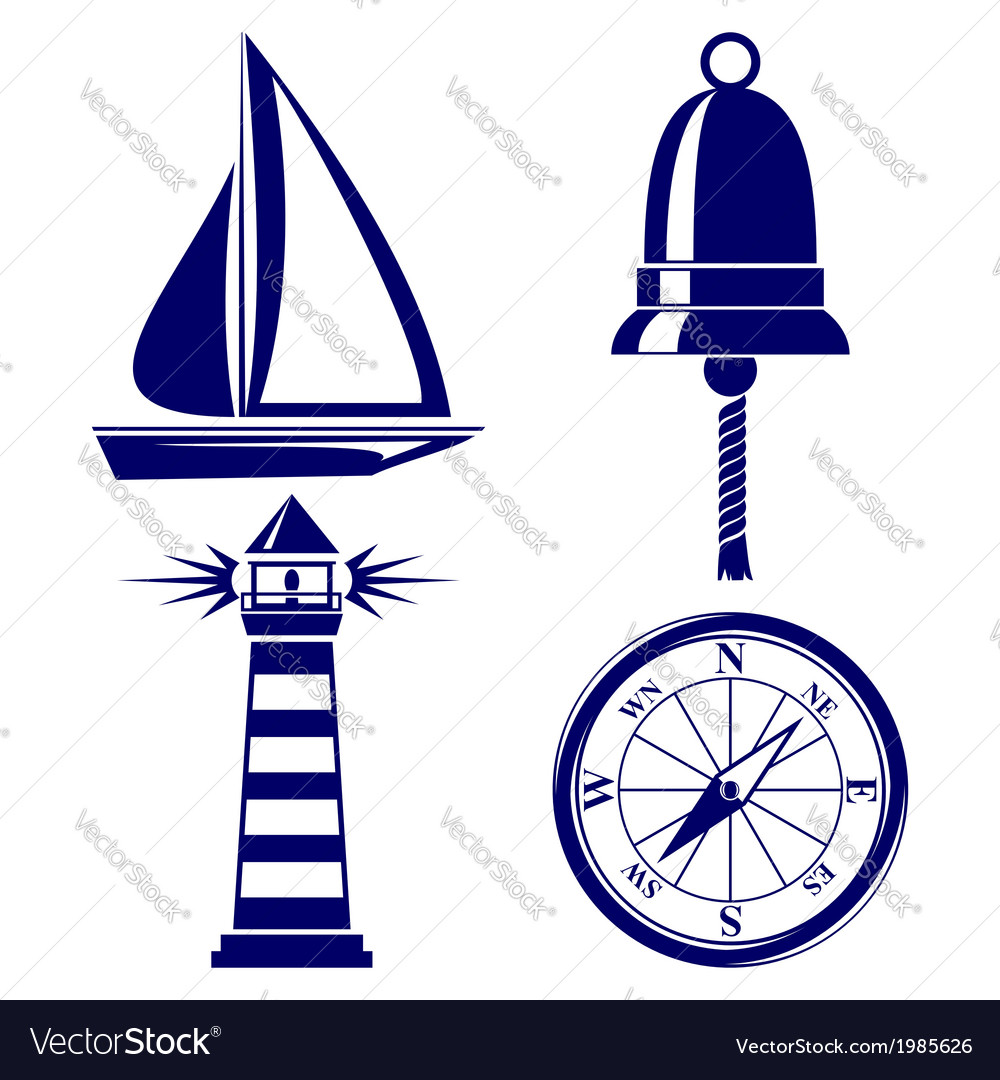 Set of marine symbols vector | Price: 1 Credit (USD $1)