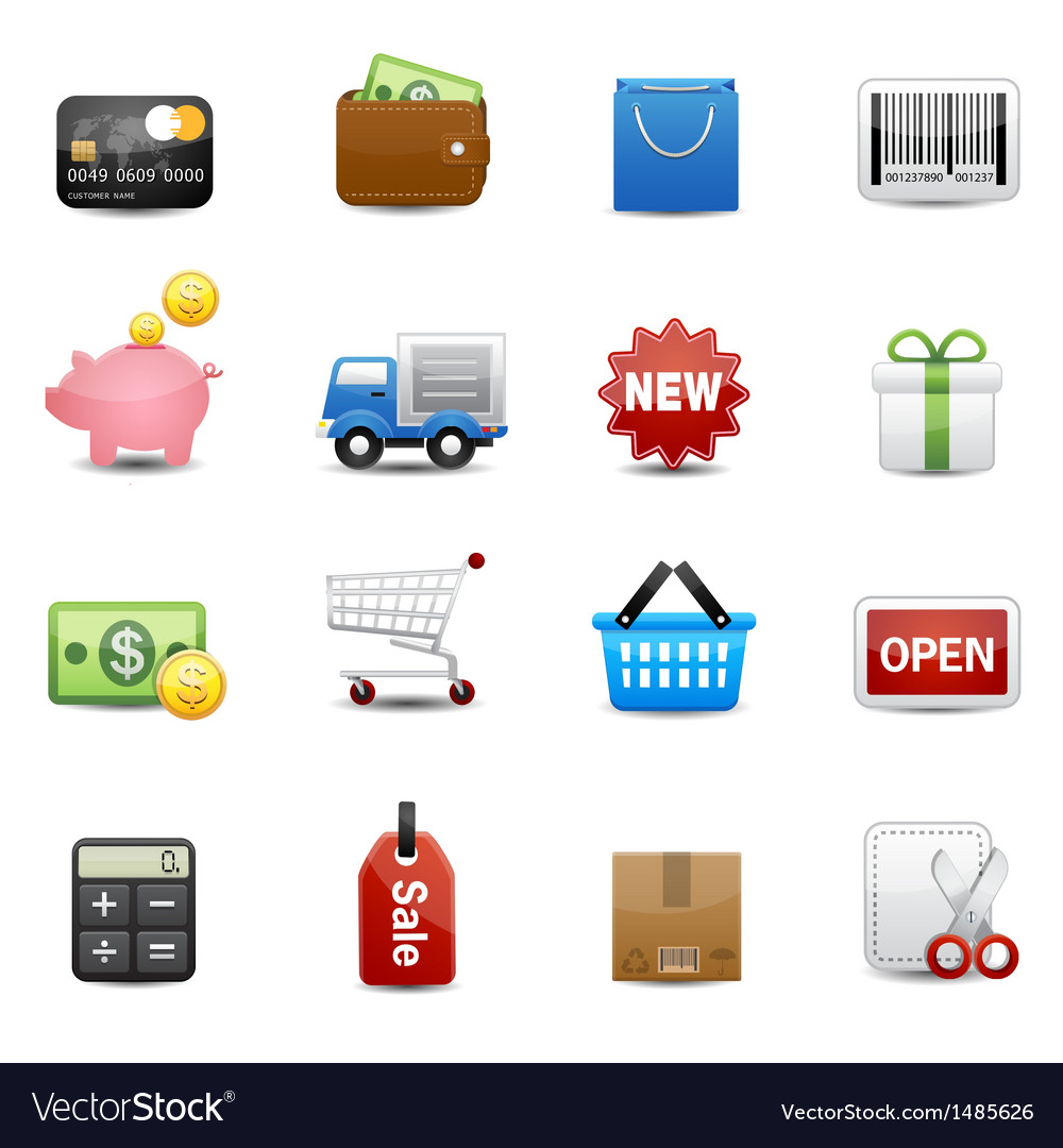 Shopping icons set vector | Price: 3 Credit (USD $3)