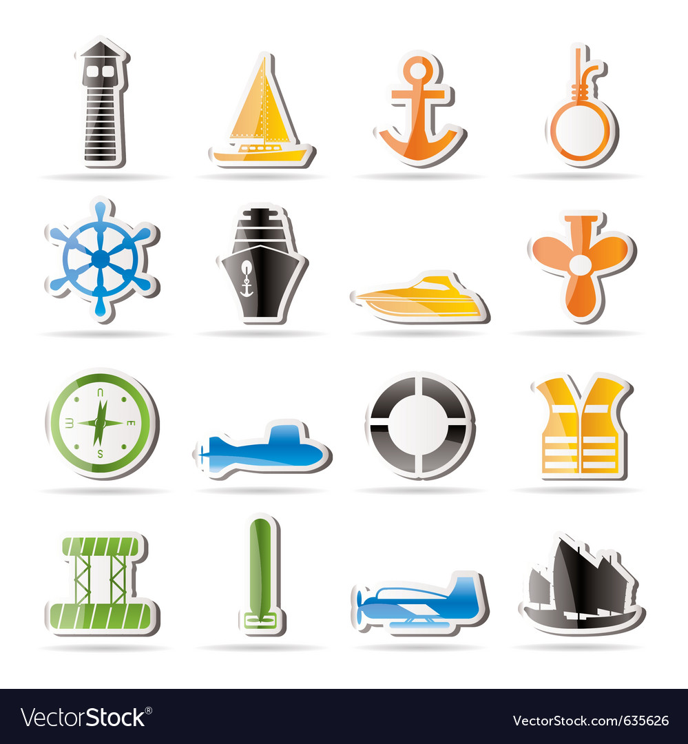 Simple marine icons vector | Price: 1 Credit (USD $1)