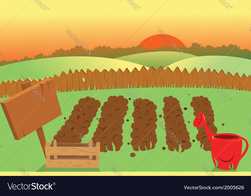Sunset on a farm vector | Price: 1 Credit (USD $1)
