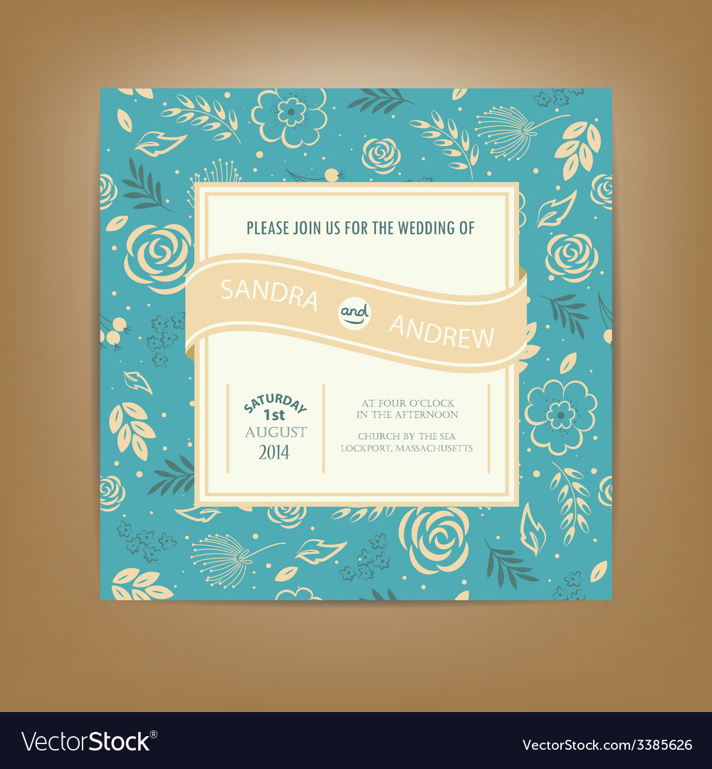 Wedding invitation dark blue vector | Price: 1 Credit (USD $1)