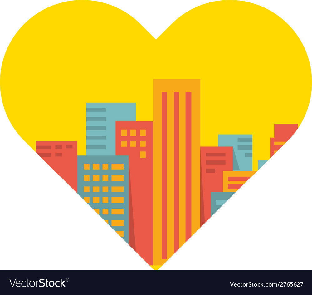 Background a large city in the heart vector | Price: 1 Credit (USD $1)