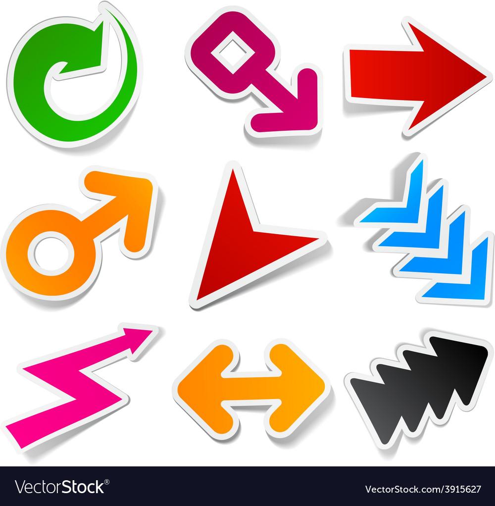 Color arrows sticker set vector   Price: 1 Credit (USD $1)