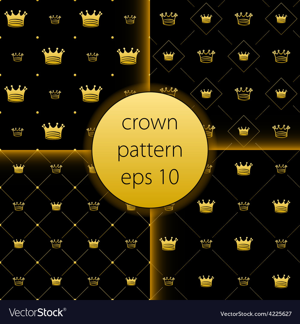 Crown collection gold big set icons vector | Price: 1 Credit (USD $1)