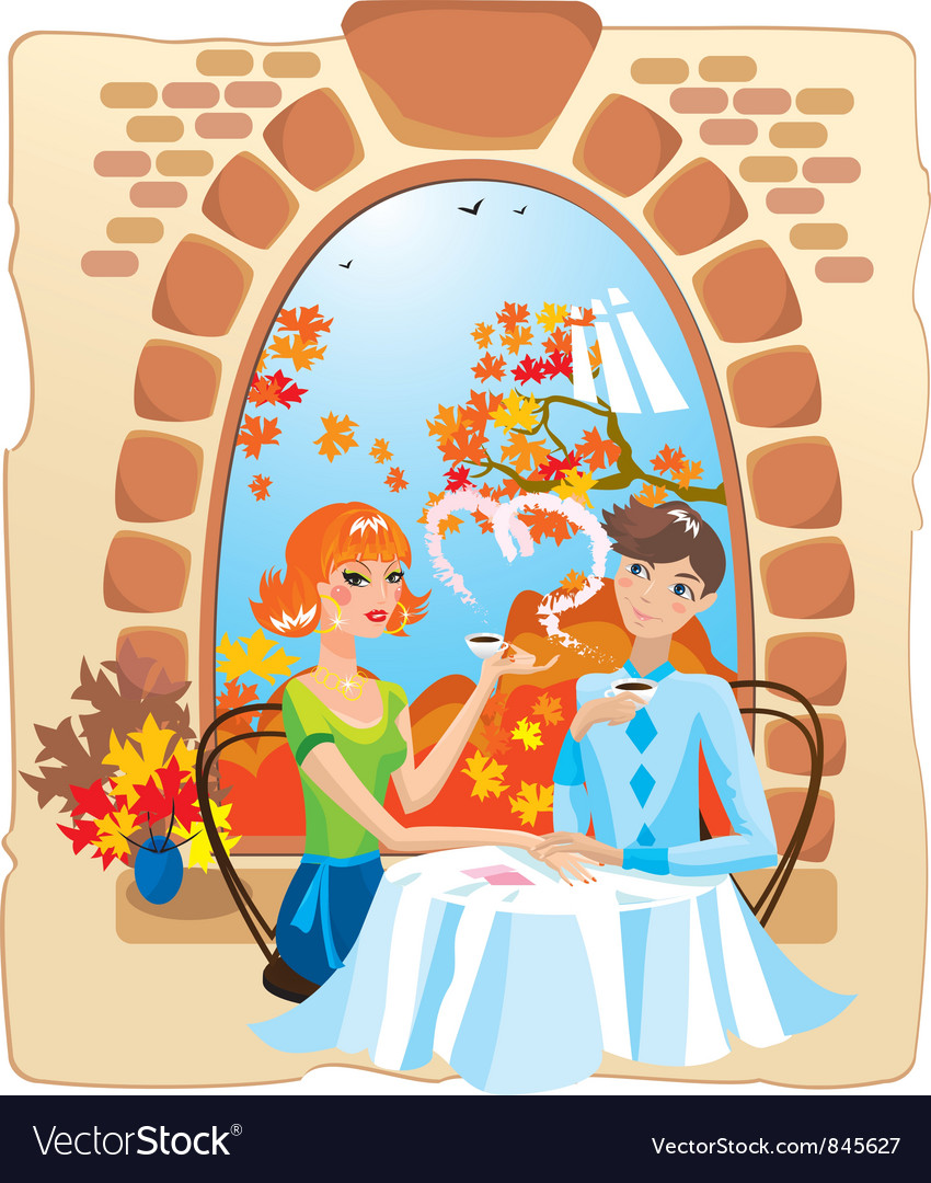 Dating couple in the cafe vector | Price: 3 Credit (USD $3)