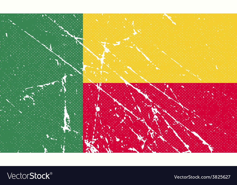 Flag of benin with old texture vector | Price: 1 Credit (USD $1)