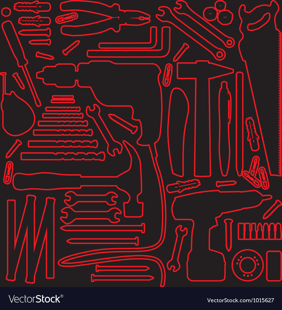 Hardware tools outline vector | Price: 1 Credit (USD $1)