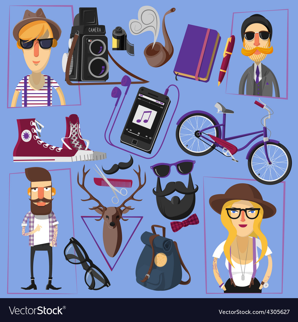 Hipster flat icons composition poster vector | Price: 1 Credit (USD $1)