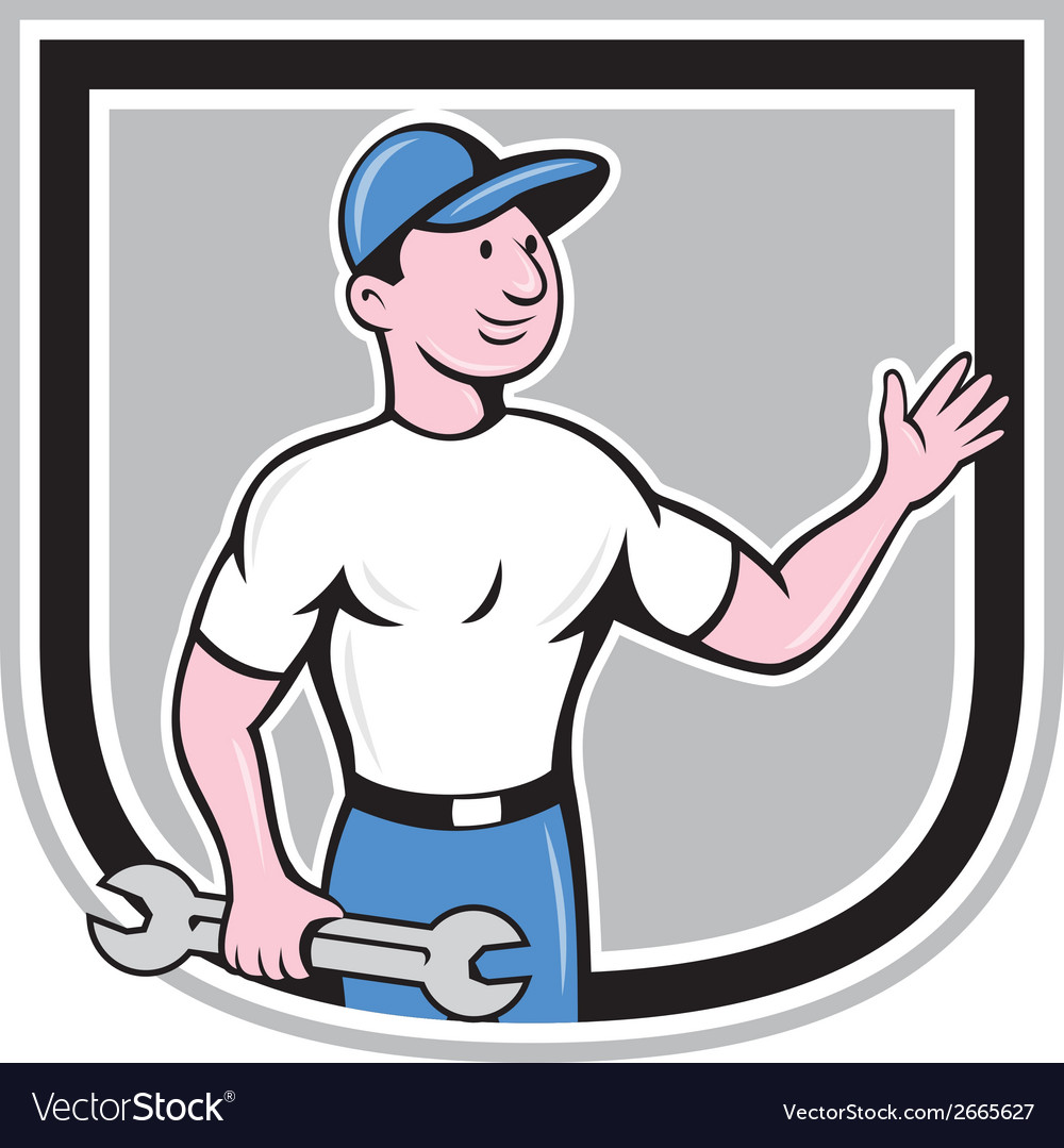 Mechanic hold spanner waving hand cartoon vector | Price: 1 Credit (USD $1)
